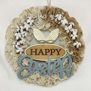 Handmade Holiday - Happy Easter Burlap Cotton Welcome Wreath